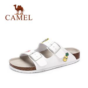 Camel/骆驼女鞋 夏季新品休闲百搭沙滩拖鞋女 彩绘童趣拖鞋