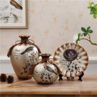 欧式陶瓷花瓶三件套插花花器奢华家居客厅摆件结婚礼物装饰品
