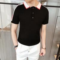 英伦时尚潮男修身短袖POLO衬衫韩版修身半袖t恤衫潮男帅气打底衫S