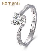罗曼蒂珠宝白18K金钻戒女款0.5克拉/50分钻石求婚结婚钻石戒指需定制