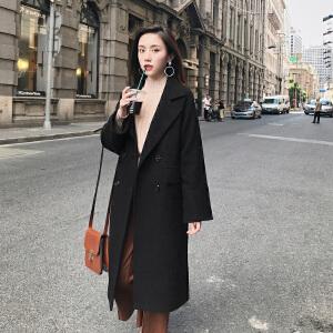 【2件3折价229.44元】唐狮冬装新款毛呢外套女翻领双排扣长款呢大衣