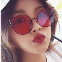 大框女太阳镜 户外墨镜女 新款圆脸大框韩国显瘦个性彩色猫耳朵眼镜太阳镜