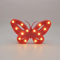 INS创意兔子小熊独角兽动物造型灯房间装饰可爱小夜灯儿童节礼物 蝴蝶粉色 26.5*16.5CM