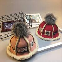 秋冬儿童贴布毛球羊羔绒盆帽麂皮渔夫帽子折叠保暖帽潮亲子帽