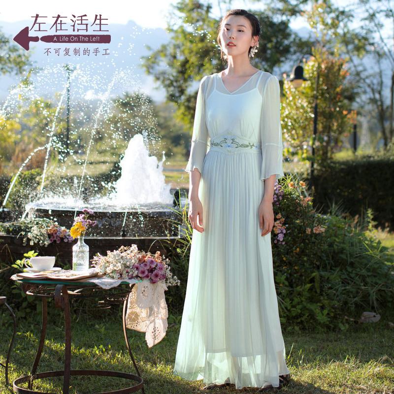 生活在左2018秋季新款女装桑蚕丝连衣裙七分袖真丝修身超仙长裙子