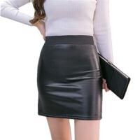 秋冬新款百搭显瘦小皮裙修身半身裙pu一步裙子高腰弹力包臀裙短裙 黑色