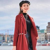 【大牌联合 到手价:449 元】三彩2019冬季新款西装领珍珠腰带全羊毛双面呢外套羊毛呢大衣女