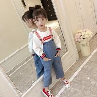 女童背带裤2018新款洋气韩版牛仔裤儿童休闲裤子春秋款女孩连体裤 牛仔蓝