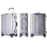 玫瑰金铝框拉杆箱登机箱子万向轮男女密码行李箱旅行箱包 深灰色 铝框豪华款银色