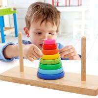 【5折包邮 限时抢购】木丸子 汉诺塔 彩虹叠叠乐幼儿宝宝3-6岁套圈配对积木颜色认知木制儿童玩具用品