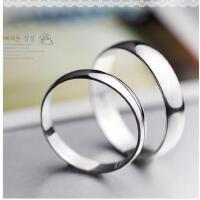 韩版时尚指环925银情侣戒指一对简约男女银饰品光面复古指环