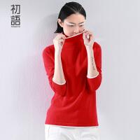 【1件8折/2件6折】 初语冬季新款 极简高领撞色合体羊绒衫女8540423038