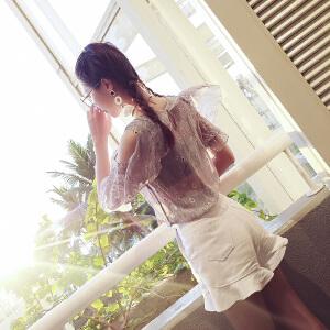 谜秀 雪纺上衣女装夏装2017新款韩版宽松短款荷叶袖碎花雪纺衫潮