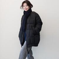秋冬季棉衣女韩版宽松bf风中长款加厚原宿风外套冬天棒球服 黑色