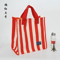 新款韩版女包大号购物袋横条棉麻帆布包大容量防水手提手拎妈咪包