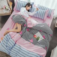 床上四件套纯棉床单被套结婚庆ins网红2.0双人1.8m1.5m米简约
