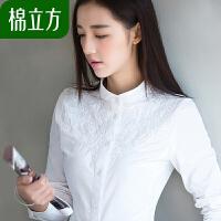 棉立方白衬衫女长袖2018秋装新款立领打底修身小清新刺绣纯棉衬衣