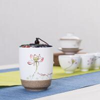 陶泥手绘小号茶叶罐 密封罐储茶罐 便携储存密封罐 普洱茶叶罐