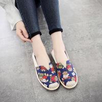 帆布鞋女新款春季透气休闲平底一脚蹬女鞋子韩版卡通老北京布鞋 蓝色小熊 正码