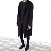 2018冬季羊毛大衣妮子中长款毛呢外套青年韩版过膝风衣男士英伦风 黑色 9003
