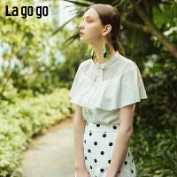Lgogo/拉谷谷2019夏季新款网纱拼接甜美短袖衬衫女IACC255A24