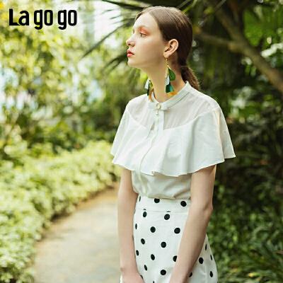 【新品5折价125】Lgogo/拉谷谷2019夏季新款网纱拼接甜美短袖衬衫女IACC255A24