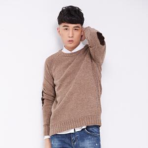 男士套头衫2017秋冬新款兔毛混纺青年休闲纯色长袖针织衫毛衣加厚