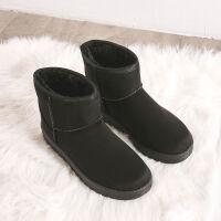 2019新款雪地靴女中筒皮面防水学生加厚韩版学生加绒靴子保暖棉鞋 35 标准尺码