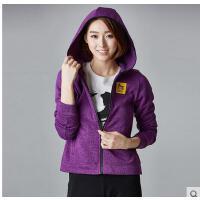 韩版清新时尚休闲女士保暖运动上衣外套透气耐磨修身连帽针织抓绒衣