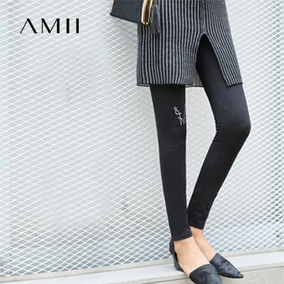 [极简主义]2017秋装新款印花紧身弹力黑色外穿打底裤女装长裤