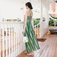 2018夏季V领露背绑带连衣裙收腰吊带沙滩裙素雅度假长裙 绿色