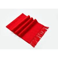 中国大红仿羊绒围巾披肩男女红围脖刺绣LOGO公司年会活动礼品定制 双面绒 180*30CM