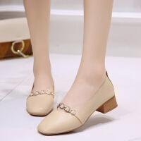 大东同款软底百搭女鞋春夏季新款复古浅口粗跟单鞋女方头中跟鞋子