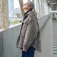冬季日系复古毛呢面料加厚保暖oversize棉衣男士宽松衣服连帽外套