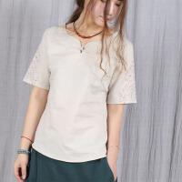 魅儿夏季短袖棉麻女装小上衣小衬衫 纯色文艺清新女装GH12402