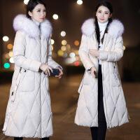 羽绒服女中长款大毛领2018冬季新款反季长款过膝宽松时尚保暖外套