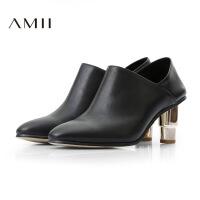 Amii新品头层牛皮尖头粗跟及踝高跟短靴11684637