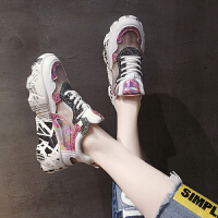 夏季时尚港系潮鞋 女士网面透气运动鞋夏季2019新款女生流行单鞋百搭休闲镂空老爹鞋