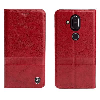 诺基亚9手机壳X7皮套微软950XL全包保护套手机套Lumia950平纹横压线 洛基亚X7 平纹横压线大红