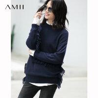 【到手价:299元】Amii极简波西米亚时尚洋气毛衣女2019秋新款宽松套头针织流苏上衣
