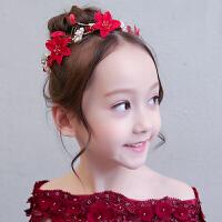 儿童礼服配饰头花发饰女童节日演出头饰花童婚纱红色头花花环发箍