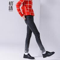 初语 冬季新品 磨白须边修身牛仔裤女8641815602
