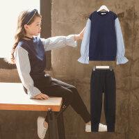 女中大童套装女洋气春装2018新款两件套韩版潮衣潮童装时尚春秋装 藏青色