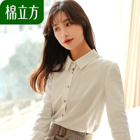 白衬衫女长袖2019春季新款棉立方韩版职业装宽松休闲百搭打底衬衣