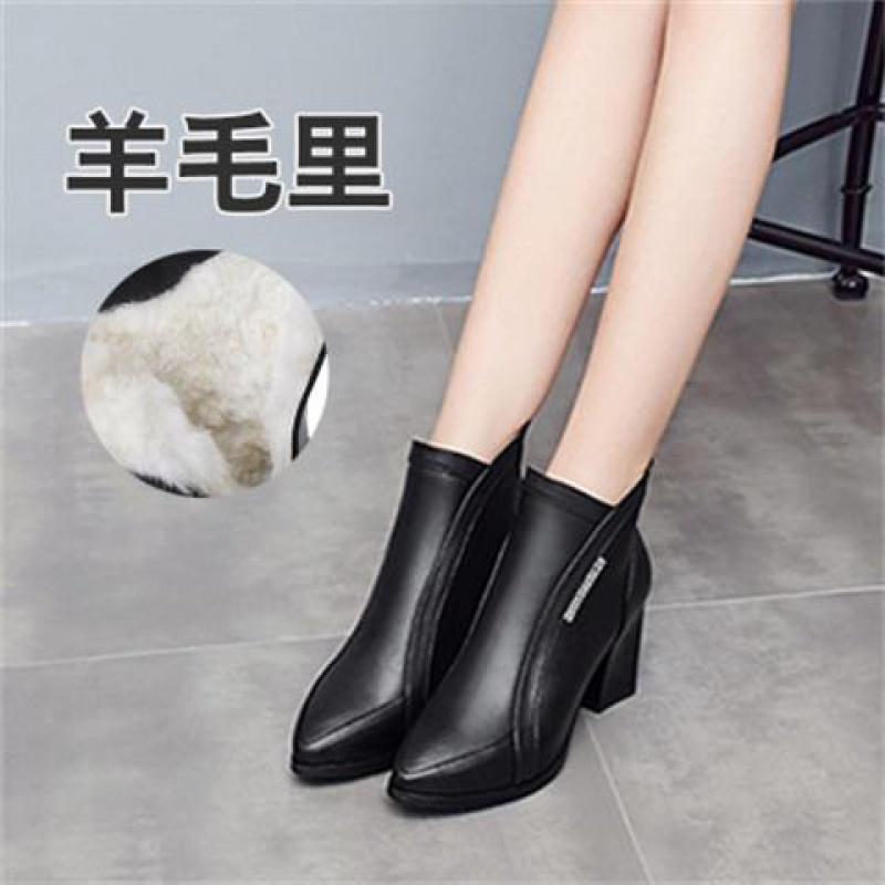 蜻蜓短靴女粗跟秋冬单靴高跟加绒女棉鞋马丁靴羊毛妈妈鞋中跟小码