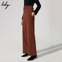 【不打烊价:179.7元】 Lily春新款女装帅气纯色高腰修身阔腿裤直筒裤118400C5106