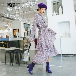 七格格雪纺碎花连衣裙秋装女新款韩版长袖高腰中长款荷叶边裙