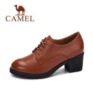 camel 骆驼女鞋   秋季新品 简约时尚英伦风牛津鞋真皮高跟系带女单鞋