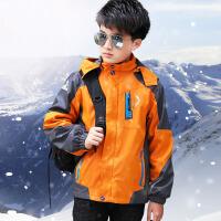 童装男童三合一冲锋衣加绒可拆卸儿童秋冬外套