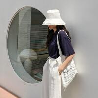 慵懒风帆布包学生文艺韩版单肩原宿风 乳白色